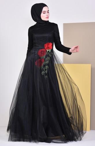 Nakış Detaylı Abiye Elbise 8145-03 Siyah