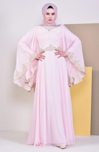 Dantel Detaylı Abiye Elbise 8224-01 Pudra