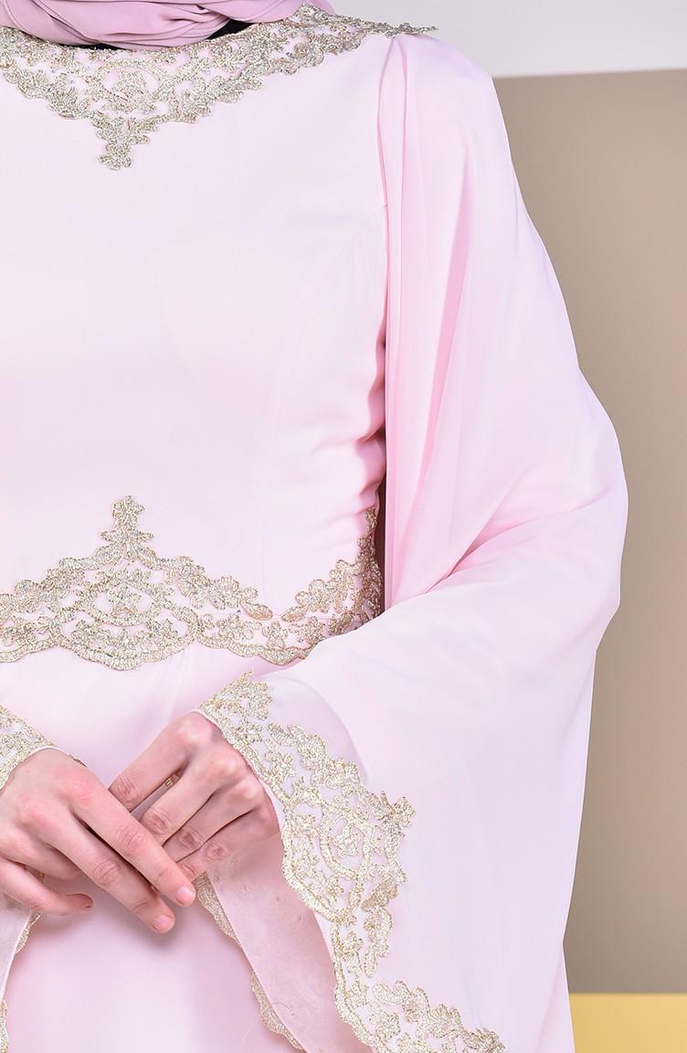 Sefamerve Pudra Dantel Detaylı Abiye Elbise