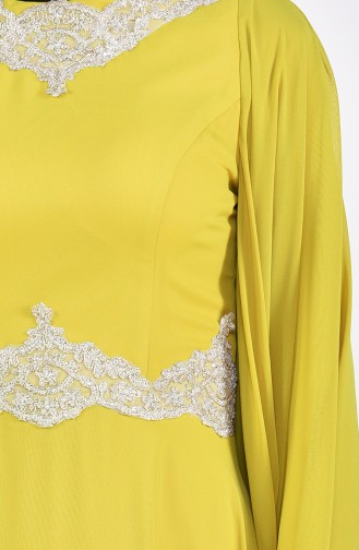 Lace Detailed Evening Dress 8224-02 Green 8224-02