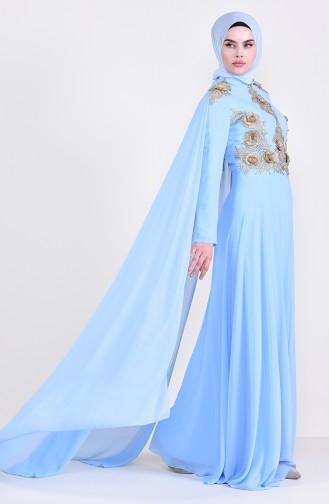 Lace Cape Evening Dress 8240-03 Baby Blue 8240-03