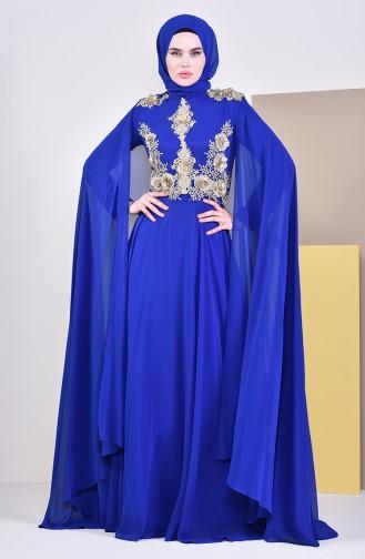 Dantelli Pelerinli Abiye Elbise 8240-04 Saks