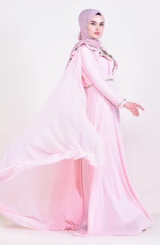 Dantel Detaylı Abiye Elbise 8649-02 Pudra 8649-02