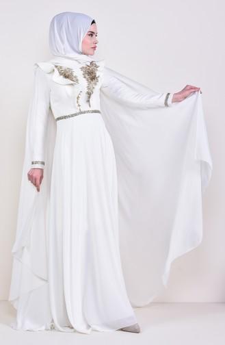فستان سهرة بتفاصيل الدانتيل 8649-03لون بيج فاتح 8649-03