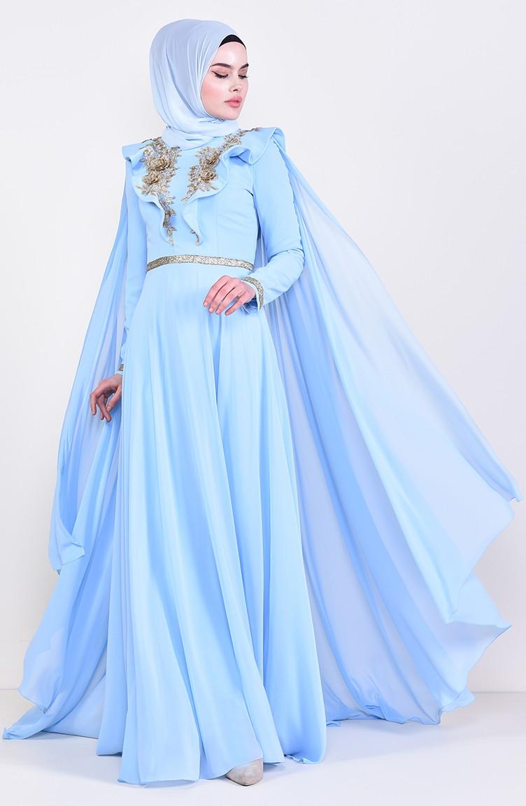 فستان سهرة بتفاصيل الدانتيل 8649 04 لون ازرق فاتح 8649 04 Sefamerve