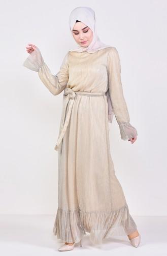 Fırfırlı Simli Elbise 81657-03 Bej