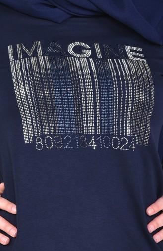 بدلة رياضية بتصميم مُطبع 8352-04 لون كحلي 8352-04