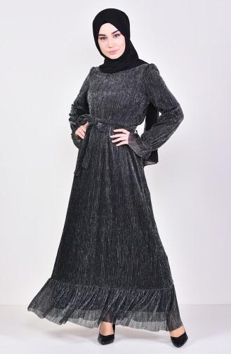 Fırfırlı Simli Elbise 81657-01 Siyah