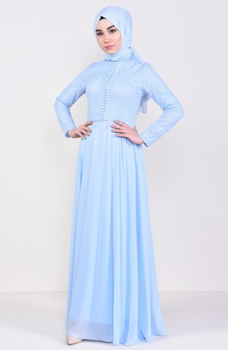 Lace Detailed Evening Dress 5075-01 Baby Blue 5075-01
