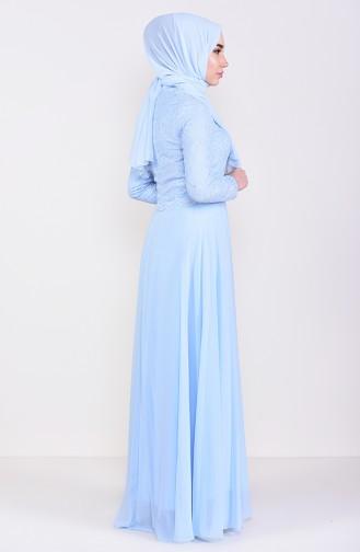 Robe de Soirée Détail Dentelle 5075-01 Bleu Bébé 5075-01