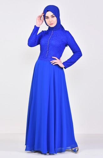 Robe de Soirée Détail Dentelle 5075-02 Bleu Roi 5075-02