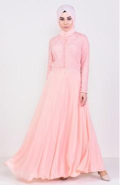 048b95e657081 فستان سهرة بتفاصيل مطرزة بالخرز 6006-05 لون مشمشي 6006-05