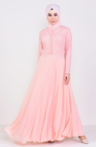 Lace Detailed Evening Dress 5075-03 Salmon 5075-03