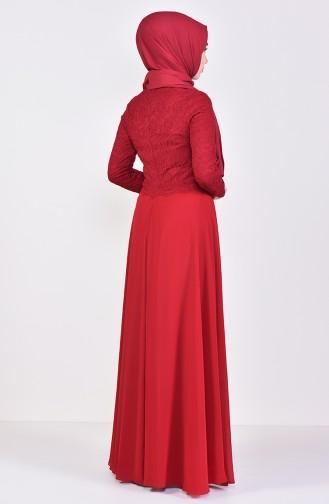 Lace Detailed Evening Dress 5075-04 Bordeaux 5075-04