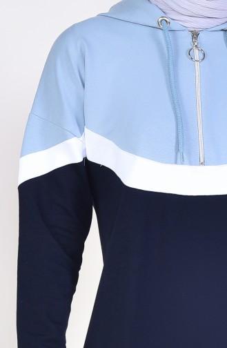 Sportkleid mit Reissverschluss  9038-05 Dunkelblau Eisblau 9038-05