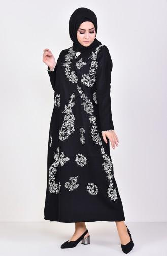 Desenli Şile Bezi Elbise 0004-05 Siyah