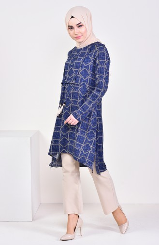 Chain Patterned Asymmetric Tunic  0110-04 Navy Blue 0110-04