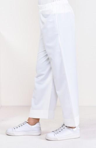 Beli Lastikli Pantolon 5213-08 Kemik