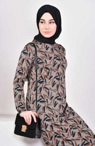 Patterned Dress 8806-01 Vizon Tobacco 8806-01