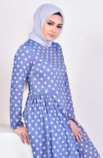 Pileli Puantiyeli Elbise 1161-01 Mavi 1161-01