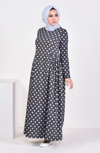 Pleated Polka Dot Dress 1161-02 Anthracite 1161-02