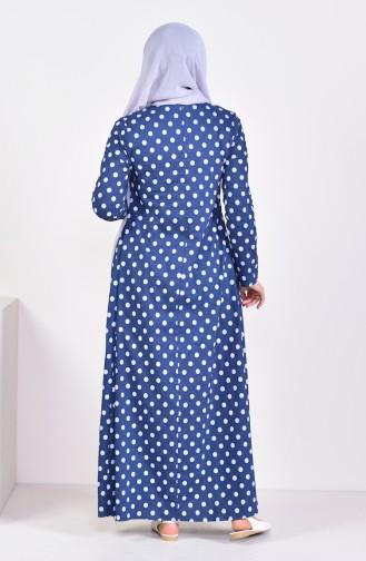 Pleated Polka Dot Dress 1161-03 Navy 1161-03