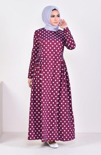 Pileli Puantiyeli Elbise 1161-04 Bordo 1161-04