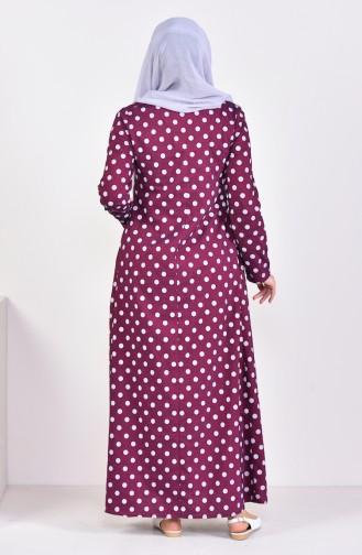 Pleated Polka Dot Dress 1161-04 Bordeaux 1161-04