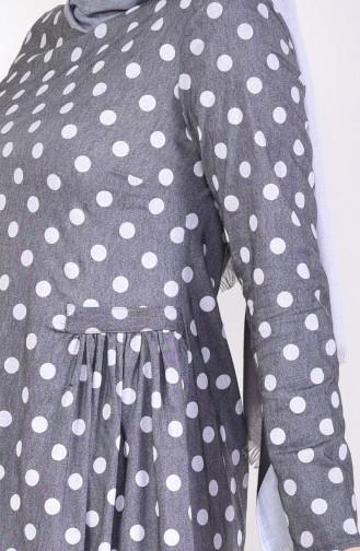 Robe Plissée a Motifs 1161-05 Gris 1161-05