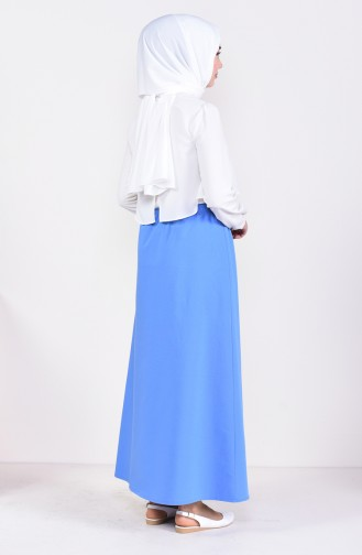 Plated Waist Skirt 1001D-02 İndigo 1001D-02