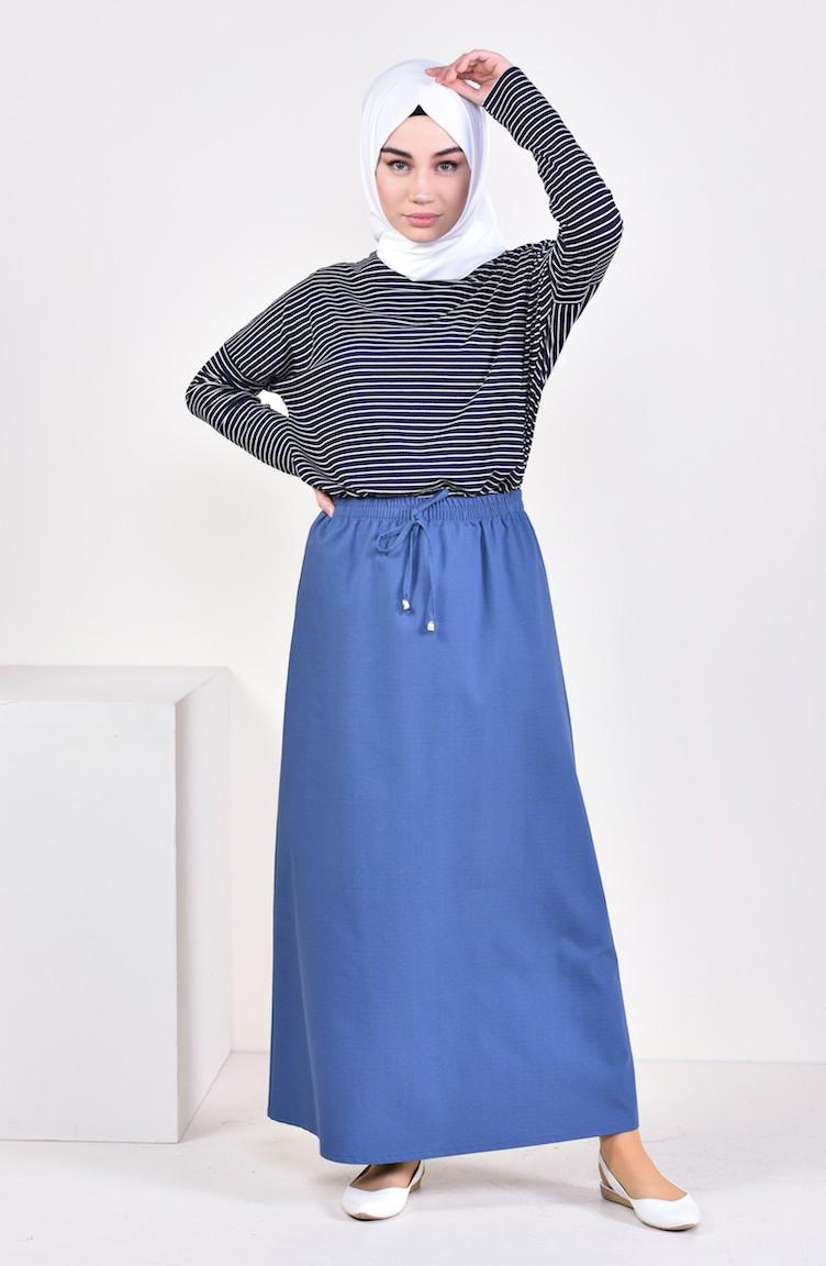 c8cdd04826 Plated Waist Skirt 1001D-04 Petrol Blue 1001D-04
