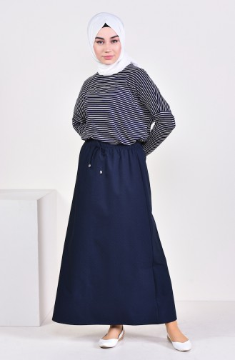 Plated Waist Skirt 1001D-09 Navy 1001D-09
