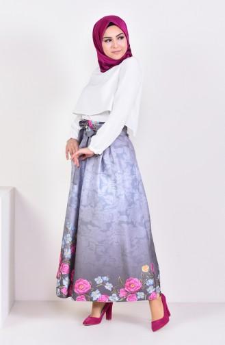 تنورة كلوش بتصميم كسرات 2201-03 لون رمادي 2201-03