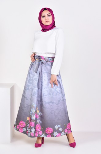 Pleated Flared Skirt 2201-03 Gray 2201-03