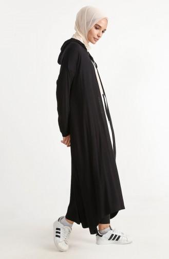 Bağcıklı Uzun Hırka 1240-04 Siyah
