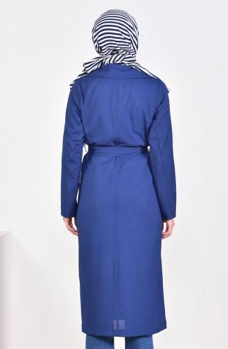 Navy Blue Long Coat 7942-04