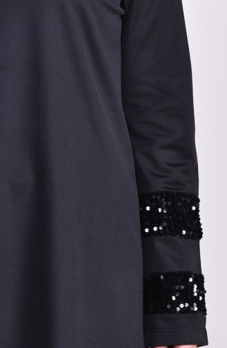 Sequined Tunic Pants Binary Suit 9016-01 Black 9016-01