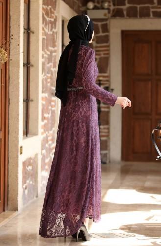 Lace Overly Evening Dress 3206-08 Plum 3206-08