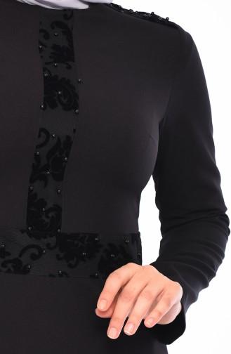 Flok Baskılı İncili Elbise 0054-01 Siyah 0054-01