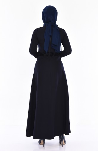 Bedrucktes Kleid mit Perlen 0054-02 Dunkelblau 0054-02