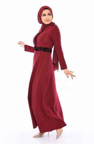 Bedrucktes Kleid mit Perlen 0054-03 Weinrot 0054-03
