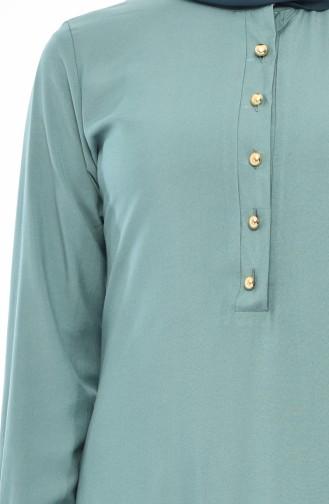 تونيك غير متماثل الطول بتصميم أزرار مخفية  3045-02 لون أخضر فاتح 3045-02