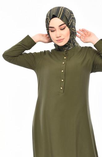 Hidden Button Asymmetric Tunic  3045-04 Green 3045-04