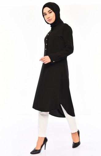 تونيك غير متماثل الطول بتصميم أزرار مخفية 3045-06 لون أسود 3045-06