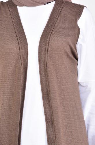 سترة بدون اكمام مُحاك بتصميم جيوب وقصة مستقيمة 4128-21 لون بني 4128-21