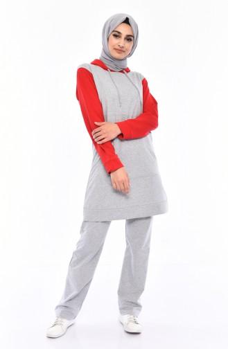 Kapüşonlu Eşofman Takım 19013-04 Kırmızı 19013-04