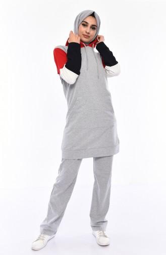 Kapüşonlu Eşofman Takım 19014-04 Kırmızı 19014-04