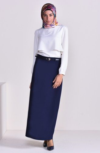 Belt Skirt 2204-01 Navy Blue 2204-01