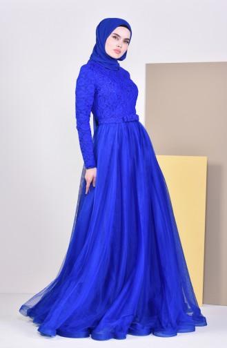 Lace Detailed Evening Dress 5093-02 Saks 5093-02