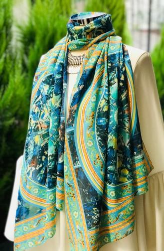 Châle Mousseline a Motifs 60851-01 Turquoise Jaune 60851-01